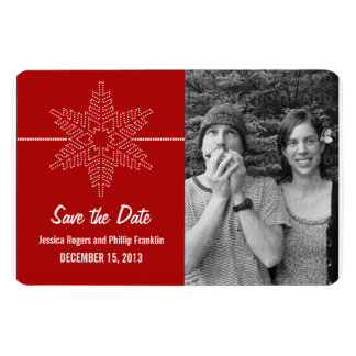 Sweet Snowflake Save the Date Magnet, Red Rectangular Photo Magnet