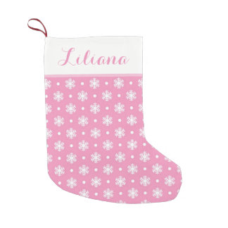 Sweet Snowflakes Personalized Stocking / Pink