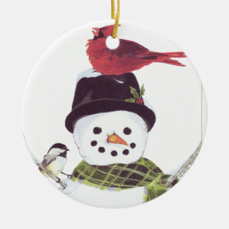 Sweet snowman and cardinal ornament. ceramic ornament