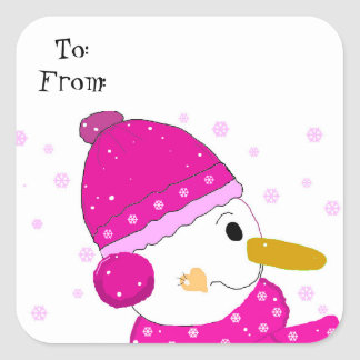 Sweet Snowman in Pink Square Sticker