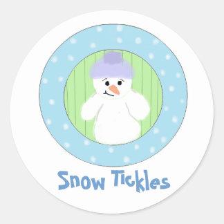 Sweet Snowman - Snow Tickles Round Sticker