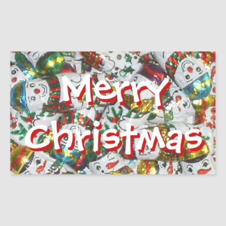Sweet Snowmen Merry Christmas sticker rectangle
