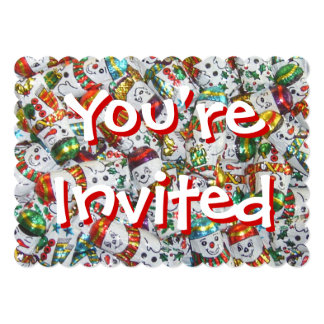 Sweet Snowmen You're Invited invitation red back