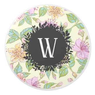 Sweet Soft Colored Spring Flowers with Monogram Ceramic Knob