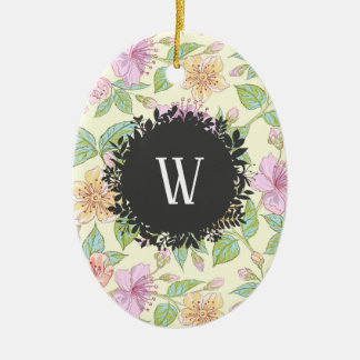 Sweet Soft Colored Spring Flowers with Monogram Ceramic Ornament