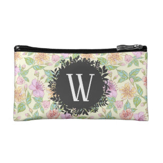 Sweet Soft Colored Spring Flowers with Monogram Cosmetic Bag