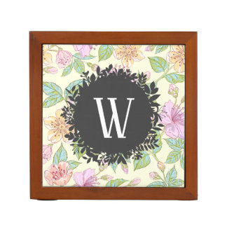Sweet Soft Colored Spring Flowers with Monogram Desk Organizer