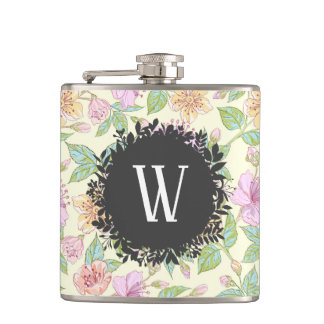 Sweet Soft Colored Spring Flowers with Monogram Hip Flask