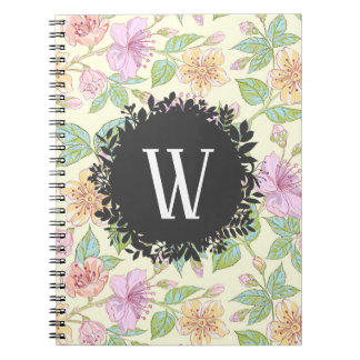 Sweet Soft Colored Spring Flowers with Monogram Notebook