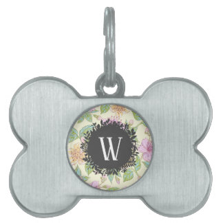 Sweet Soft Colored Spring Flowers with Monogram Pet Name Tag