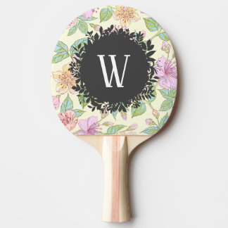 Sweet Soft Colored Spring Flowers with Monogram Ping Pong Paddle