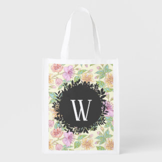 Sweet Soft Colored Spring Flowers with Monogram Reusable Grocery Bag