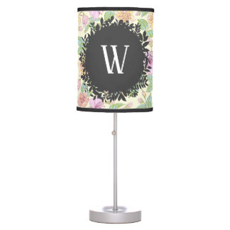 Sweet Soft Colored Spring Flowers with Monogram Table Lamp