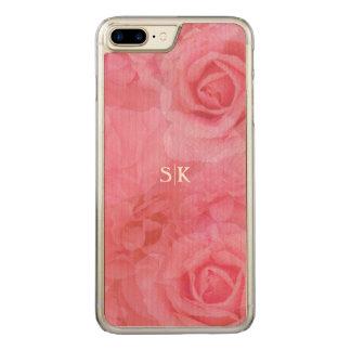 Sweet Soft Pink Blush Rose Medley Monogram Carved iPhone 8 Plus/7 Plus Case