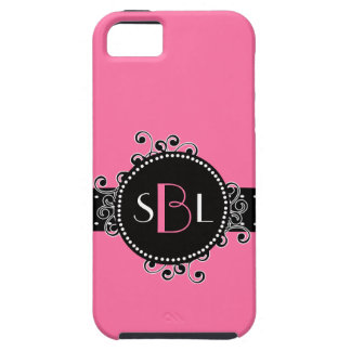 Sweet Solid Pink with Fancy Swirl Girly Tag iPhone 5 Cover