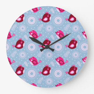 Sweet Spring Birds Large Clock