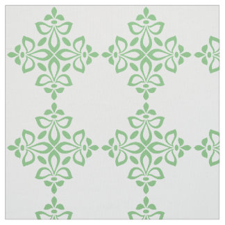 Sweet Spring Green Flourish Tile Pattern on White Fabric