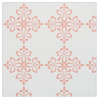 Sweet Spring Pink Flourish Tile Pattern on White Fabric