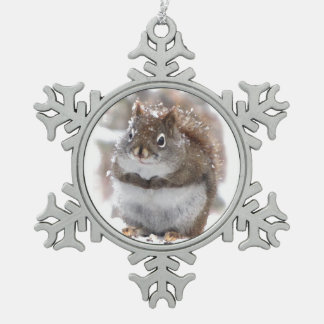 Sweet Squirrel Snowflake Pewter Christmas Ornament