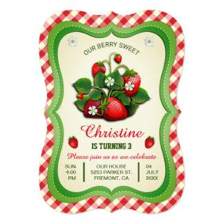Sweet Strawberry Cute Birthday Party Invitation