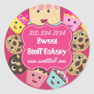Sweet Stuff Cake Cookies and Cupcake Bakery Classic Round Sticker