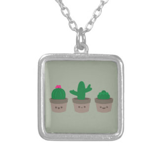 Sweet Succulent Silver Plated Necklace