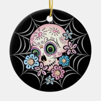 Sweet Sugar Skull Ceramic Ornament