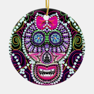 Sweet Sugar Skull With Pink Bow Round Ceramic Ornament