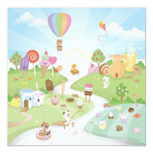 "Sweet summer paradise! 5.25"" square invitation card"