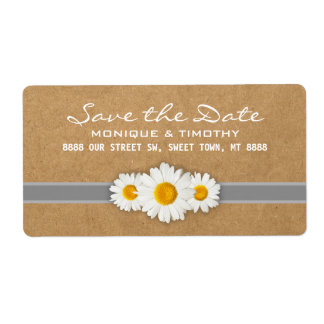 Sweet Summertime Daisies Save the Date Wedding Shipping Label