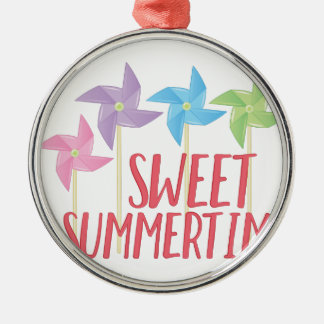 Sweet Summertime Silver-Colored Round Ornament