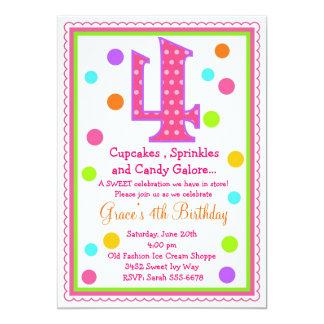 Sweet Surprise 4th Birthday Invitation