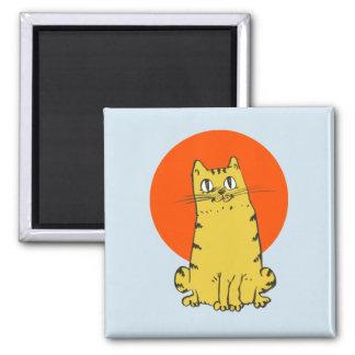 sweet tabby cat cartoon magnet