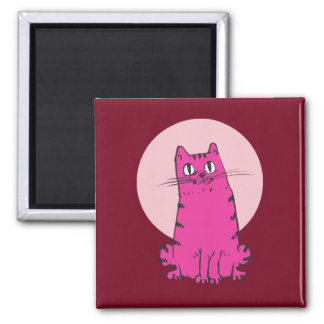 sweet tabby cat cartoon square magnet