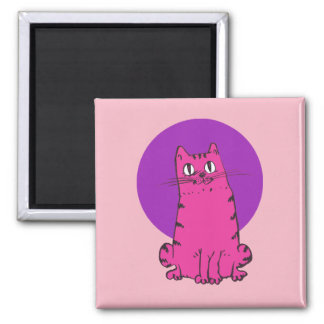 sweet tabby cat cartoon square magnet