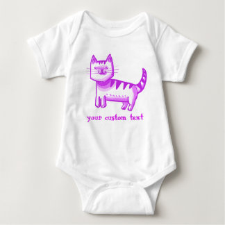 sweet tabby cat cartoon style customizable text baby bodysuit
