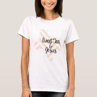 Sweet Tea & Jesus Peach Chevron T-Shirt