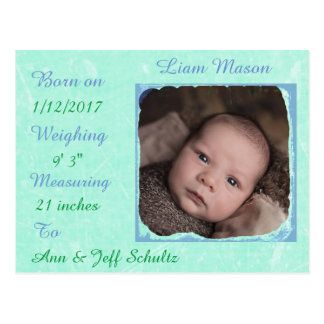 Sweet Teal and Blue Baby Boy Birth Announcements Postcard