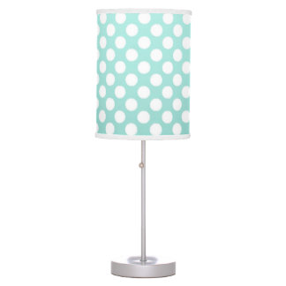 Sweet Teal and White Polka Dot Pattern Table Lamp