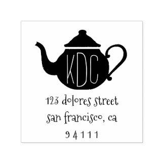 Sweet Teapot Monogram Return Address Stamp