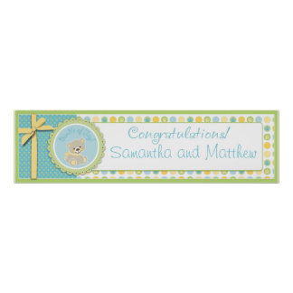 Sweet Teddy Bear Baby Shower Banner Gender Neutral Poster