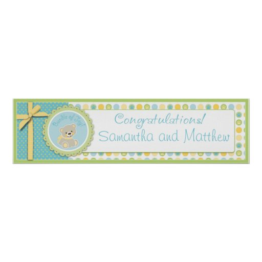 Sweet Teddy Bear Baby Shower Banner Gender Neutral Print