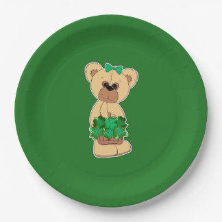 Sweet Teddy Bear St.Patrick's Day Paper Plates 9 Inch Paper Plate