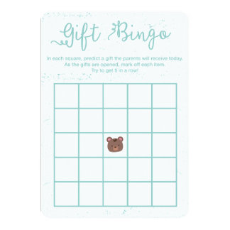 Sweet Teddy Blue Boy Baby Shower Bingo Game Card