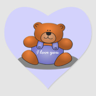 sweet teddy heart sticker