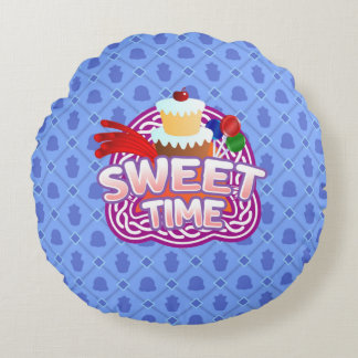 Sweet Time blue Round Throw Pillow
