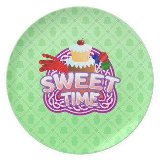 Sweet Time green Melamine Plate