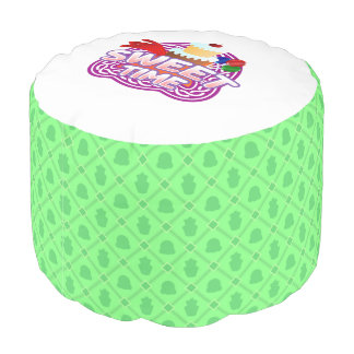 Sweet Time green Round Pouf