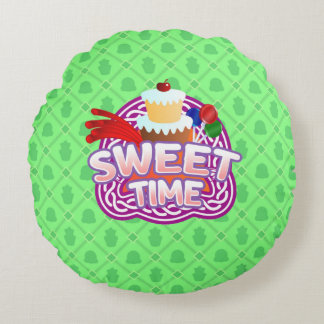 Sweet Time green Round Throw Pillow