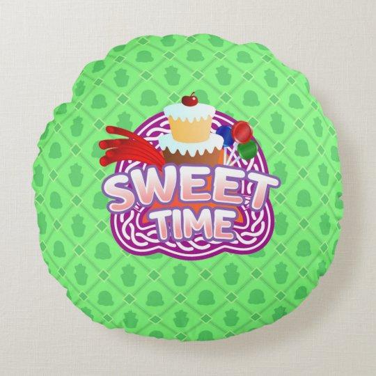 Sweet Time green Round Throw Pillow